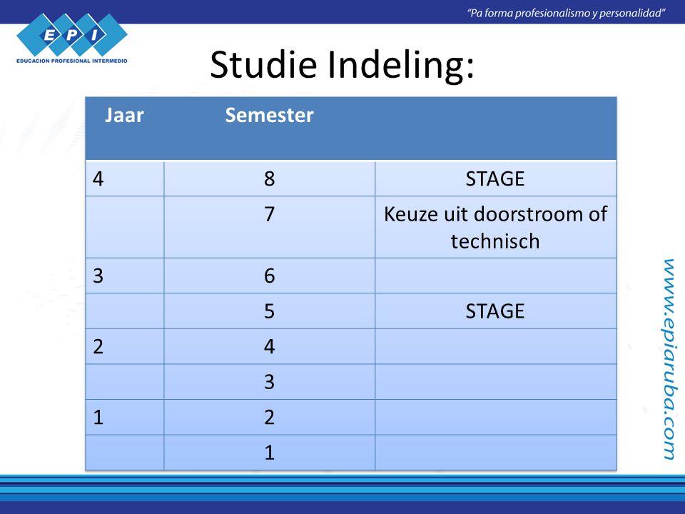 Studie Indeling: