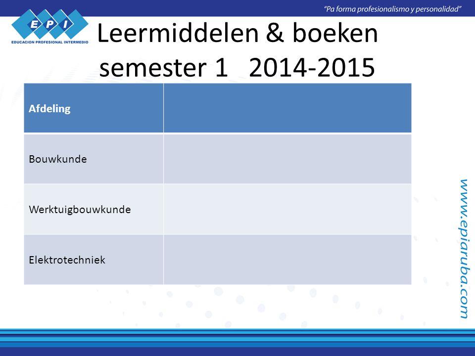 Leermiddelen & boeken semester 1 2014-2015 Afdeling Bouwkunde Werktuigbouwkunde Elektrotechniek