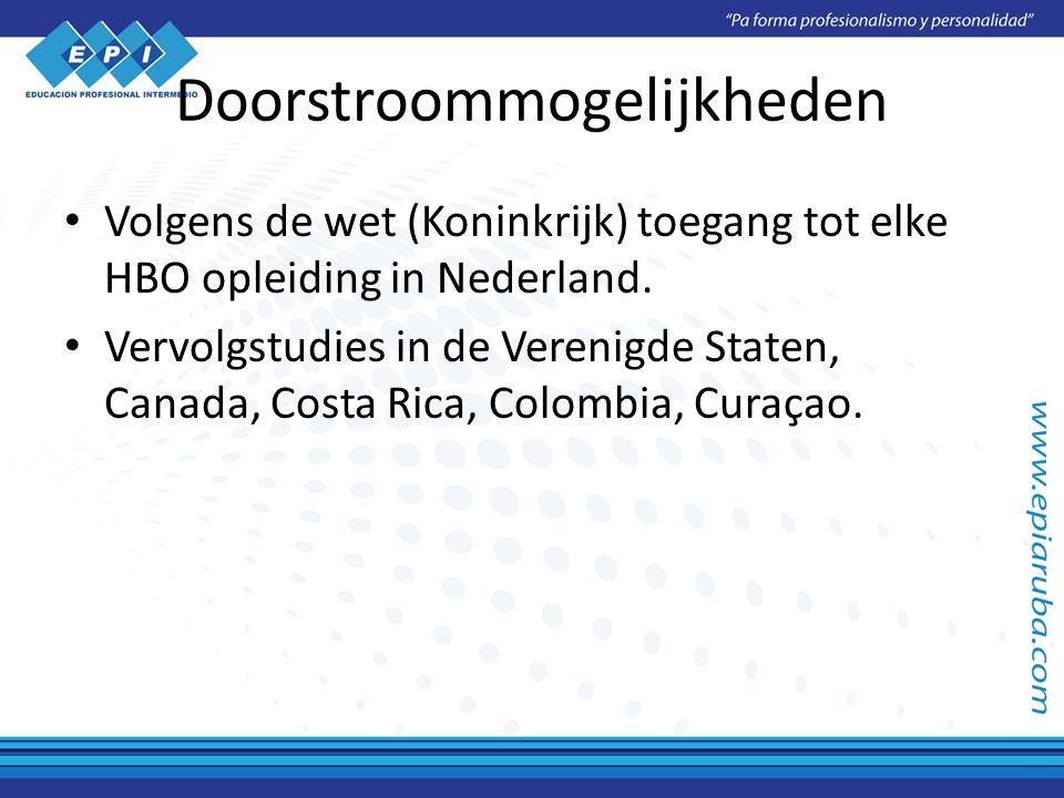 Doorstroommogelijkheden Volgens de wet (Koninkrijk) toegang tot elke HBO opleiding in Nederland.