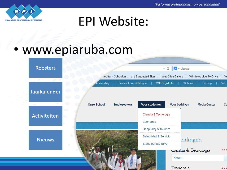 EPI Website: www.epiaruba.com Roosters Jaarkalender Activiteiten Nieuws