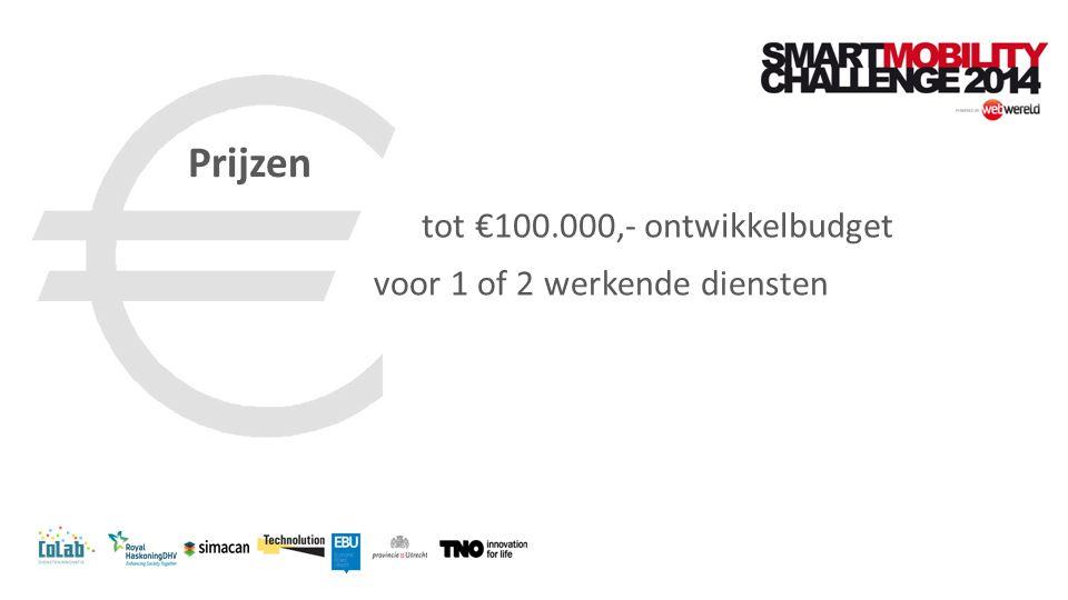 tot €100.000,- ontwikkelbudget voor 1 of 2 werkende diensten Prijzen