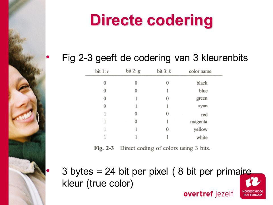 Directe codering Fig 2-3 geeft de codering van 3 kleurenbits 3 bytes = 24 bit per pixel ( 8 bit per primaire kleur (true color)