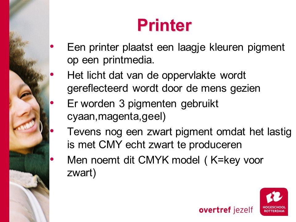 Printer Een printer plaatst een laagje kleuren pigment op een printmedia.