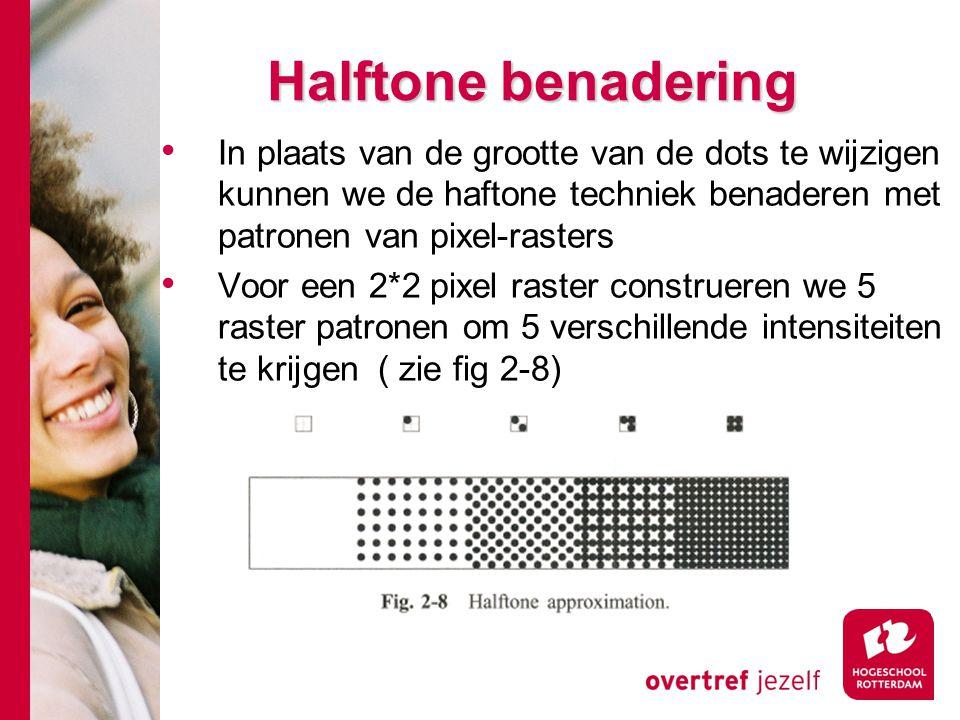 Halftone benadering In plaats van de grootte van de dots te wijzigen kunnen we de haftone techniek benaderen met patronen van pixel-rasters Voor een 2*2 pixel raster construeren we 5 raster patronen om 5 verschillende intensiteiten te krijgen ( zie fig 2-8)