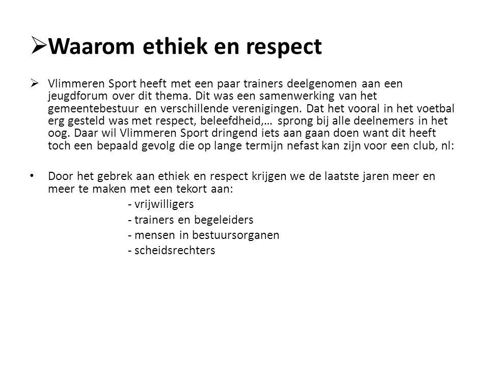  Waarom ethiek en respect  Vlimmeren Sport heeft met een paar trainers deelgenomen aan een jeugdforum over dit thema. Dit was een samenwerking van h