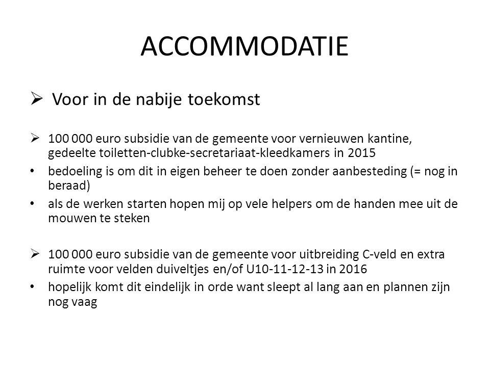 ACCOMMODATIE  Voor in de nabije toekomst  100 000 euro subsidie van de gemeente voor vernieuwen kantine, gedeelte toiletten-clubke-secretariaat-klee