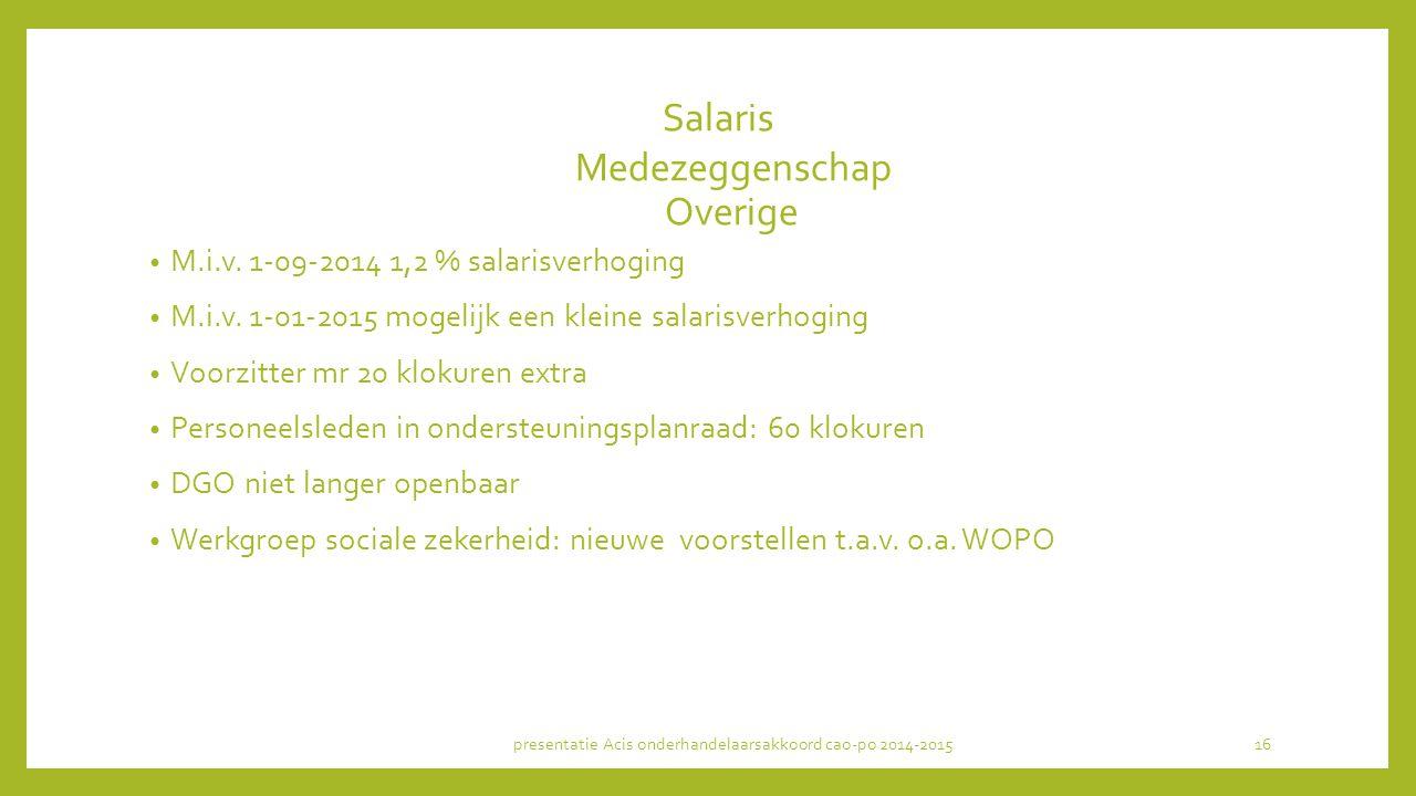 Salaris Medezeggenschap Overige M.i.v.1-09-2014 1,2 % salarisverhoging M.i.v.