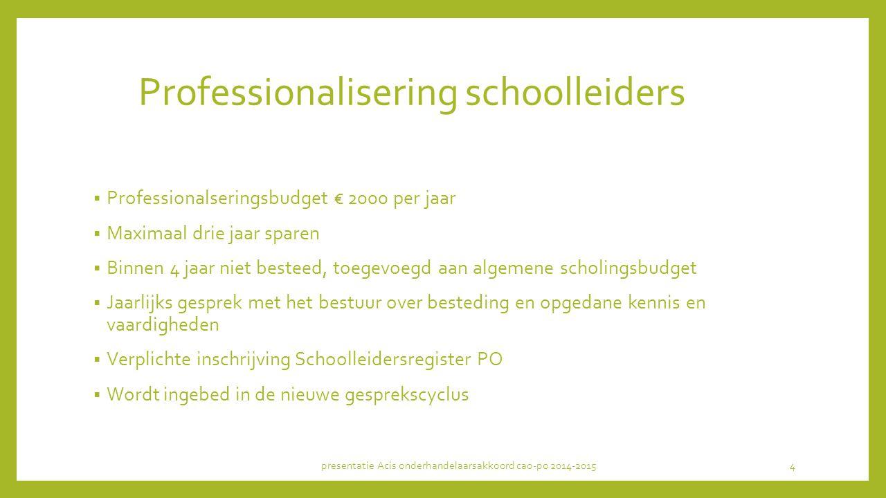 Professionalisering schoolleiders  Professionalseringsbudget € 2000 per jaar  Maximaal drie jaar sparen  Binnen 4 jaar niet besteed, toegevoegd aan