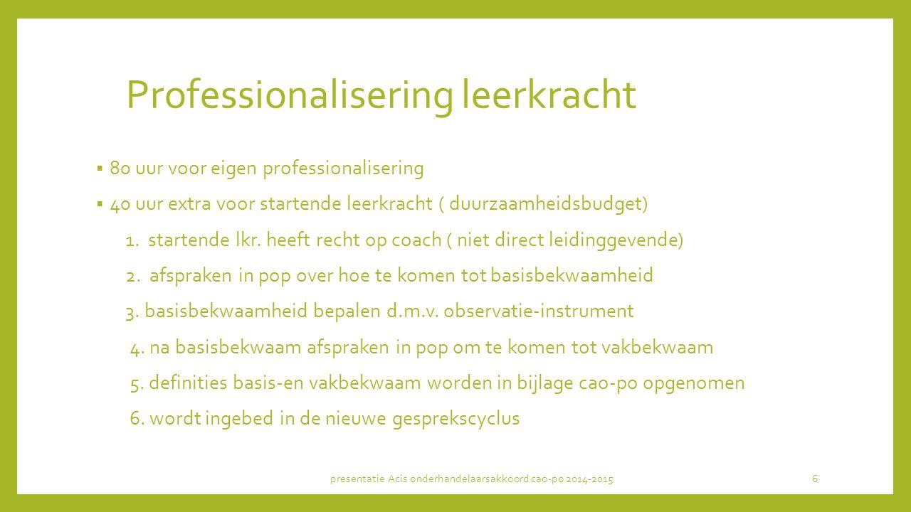 Professionalisering leerkracht  80 uur voor eigen professionalisering  40 uur extra voor startende leerkracht ( duurzaamheidsbudget) 1. startende lk