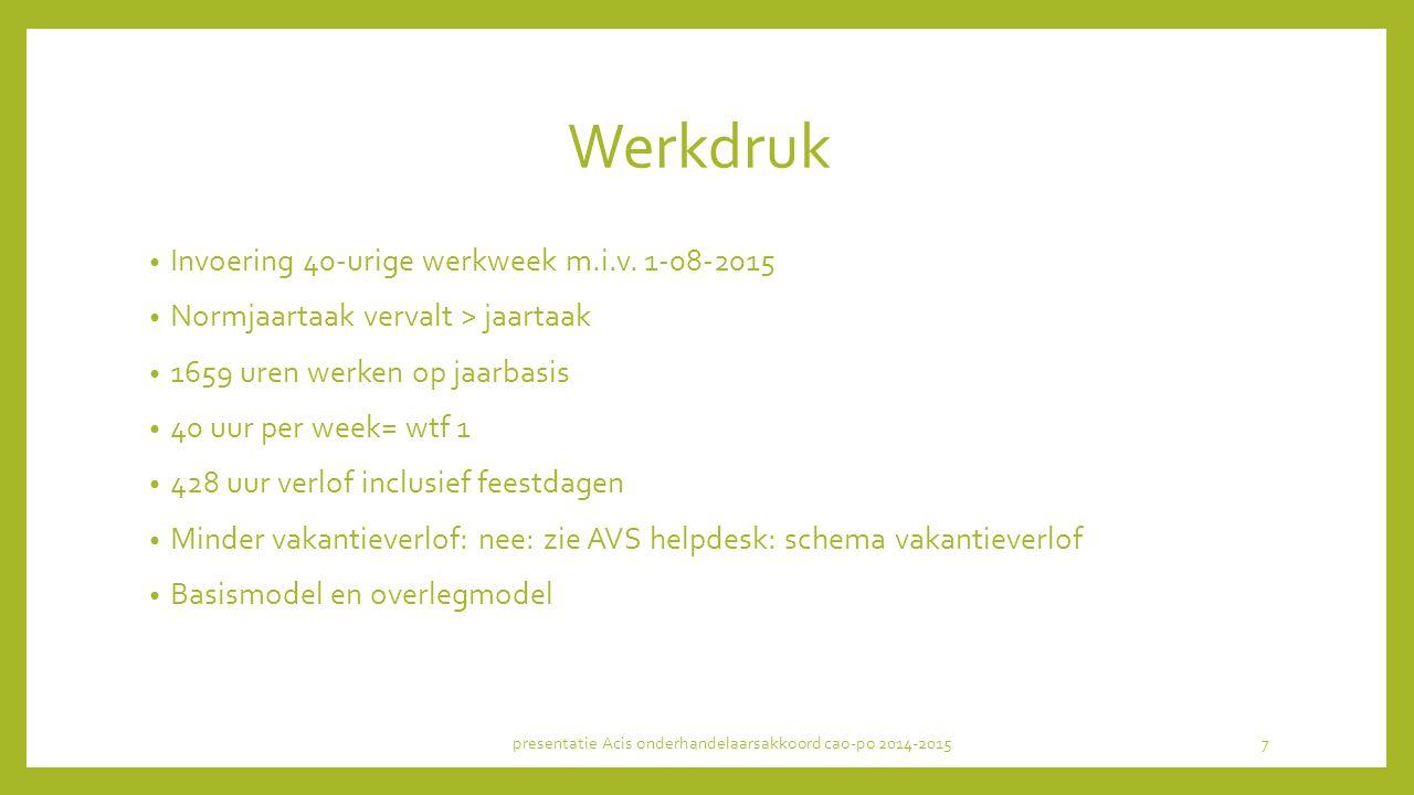 Werkdruk Invoering 40-urige werkweek m.i.v.