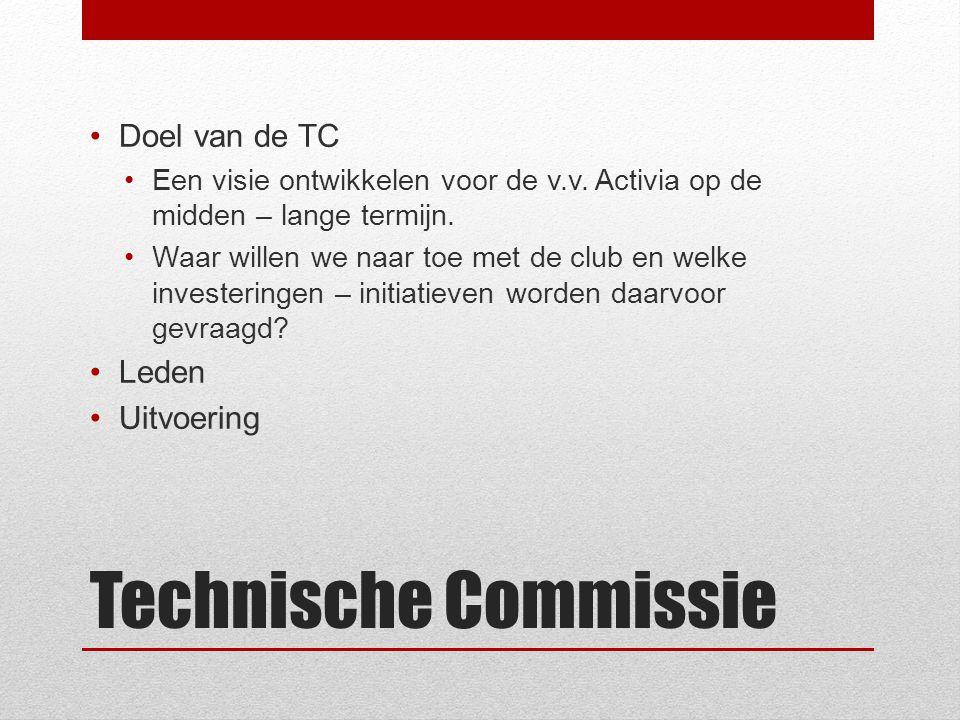 Technische Commissie Doel van de TC Een visie ontwikkelen voor de v.v.