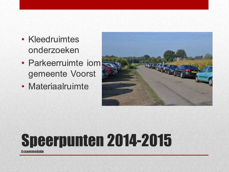 Speerpunten 2014-2015 Accommodatie Kleedruimtes onderzoeken Parkeerruimte iom gemeente Voorst Materiaalruimte