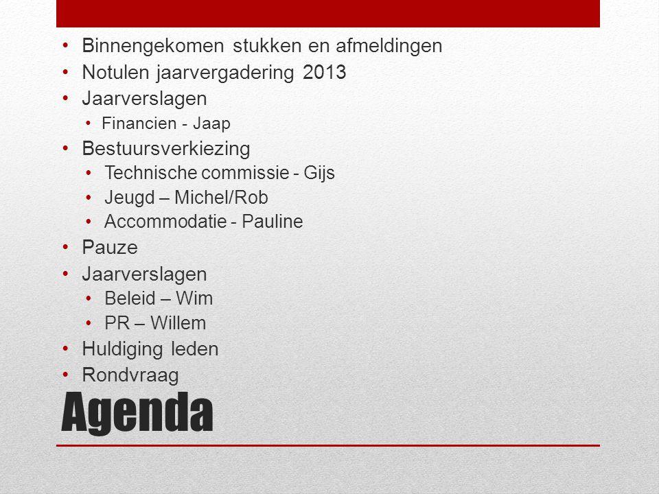 Agenda Binnengekomen stukken en afmeldingen Notulen jaarvergadering 2013 Jaarverslagen Financien - Jaap Bestuursverkiezing Technische commissie - Gijs