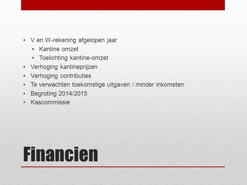 Financien V en W-rekening afgelopen jaar Kantine omzet Toelichting kantine-omzet Verhoging kantineprijzen Verhoging contributies Te verwachten toekomstige uitgaven / minder inkomsten Begroting 2014/2015 Kascommissie