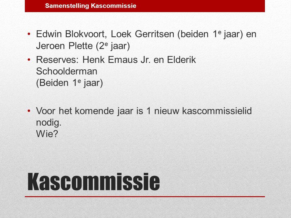 Kascommissie Edwin Blokvoort, Loek Gerritsen (beiden 1 e jaar) en Jeroen Plette (2 e jaar) Reserves: Henk Emaus Jr.