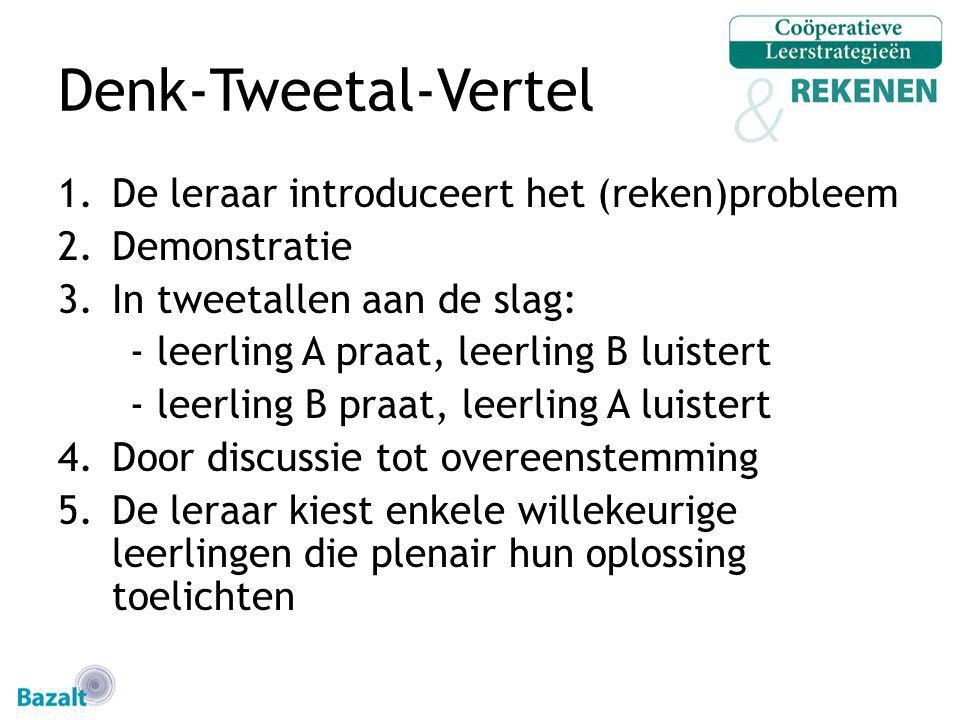 Denk-Tweetal-Vertel 1.De leraar introduceert het (reken)probleem 2.Demonstratie 3.In tweetallen aan de slag: - leerling A praat, leerling B luistert -