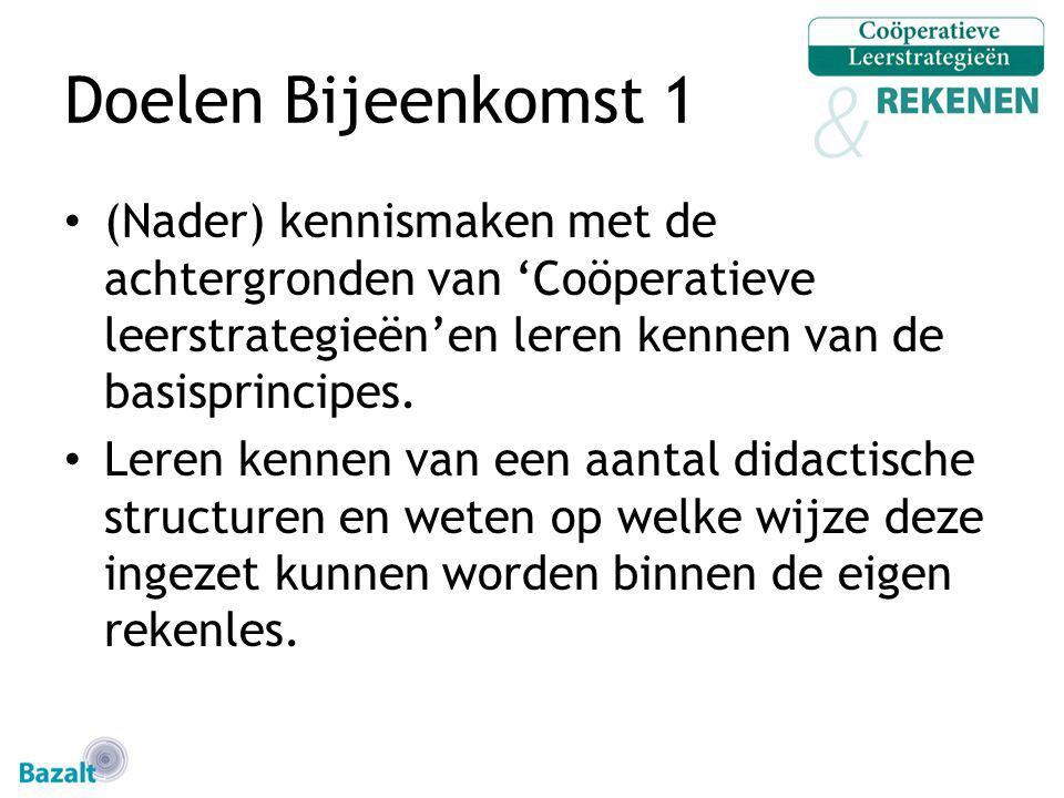 Doelen Bijeenkomst 1 (Nader) kennismaken met de achtergronden van 'Coöperatieve leerstrategieën'en leren kennen van de basisprincipes. Leren kennen va