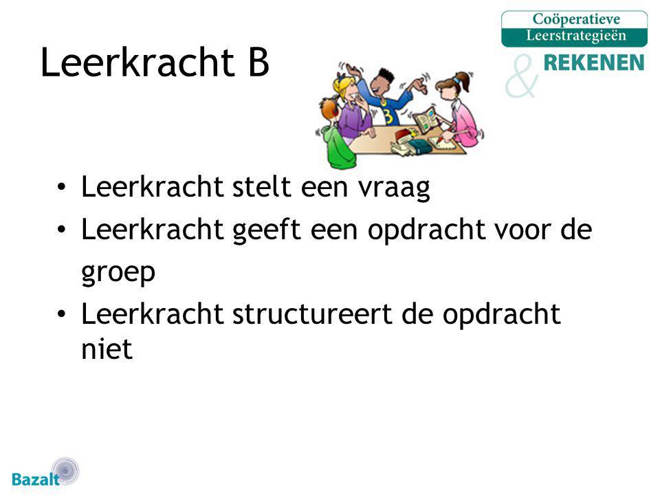 Leerkracht B Leerkracht stelt een vraag Leerkracht geeft een opdracht voor de groep Leerkracht structureert de opdracht niet