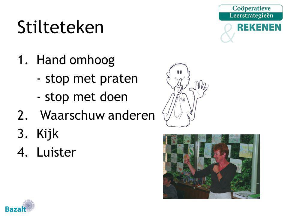 Stilteteken 1.Hand omhoog - stop met praten - stop met doen 2. Waarschuw anderen 3.Kijk 4.Luister
