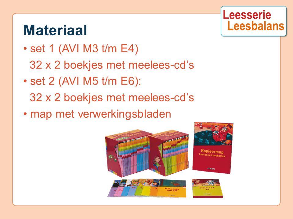 Materiaal set 1 (AVI M3 t/m E4) 32 x 2 boekjes met meelees-cd's set 2 (AVI M5 t/m E6): 32 x 2 boekjes met meelees-cd's map met verwerkingsbladen