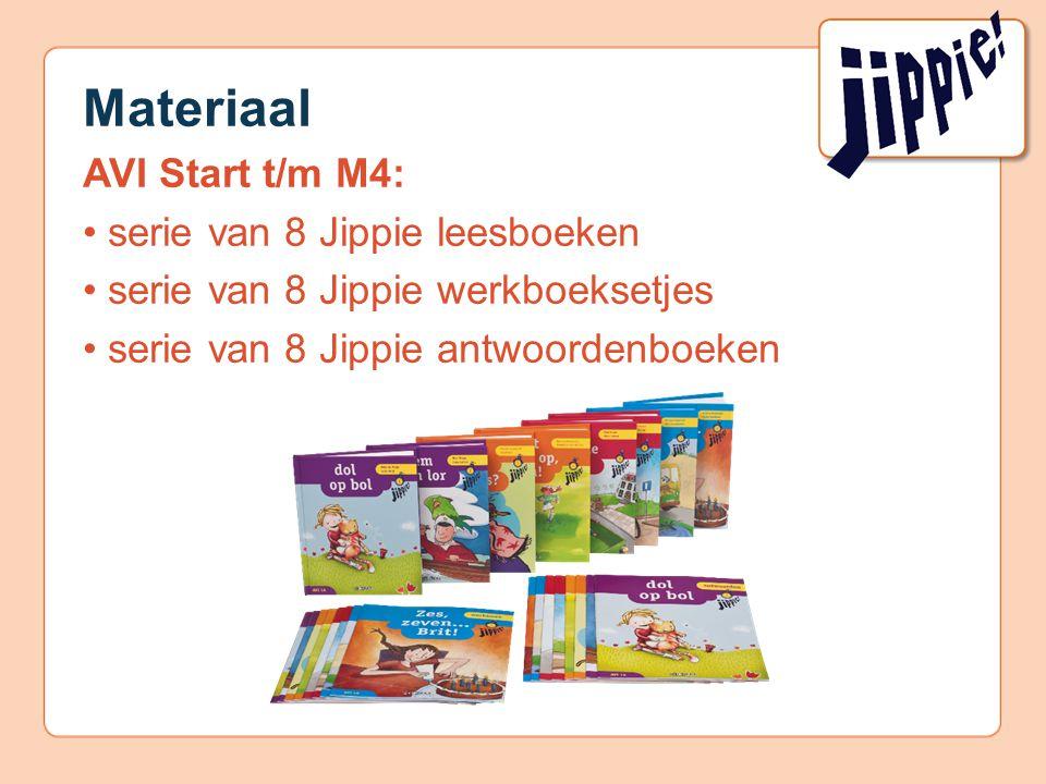 Materiaal AVI Start t/m M4: serie van 8 Jippie leesboeken serie van 8 Jippie werkboeksetjes serie van 8 Jippie antwoordenboeken