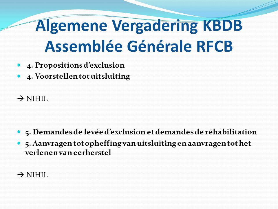 Algemene Vergadering KBDB Assemblée Générale RFCB 6.