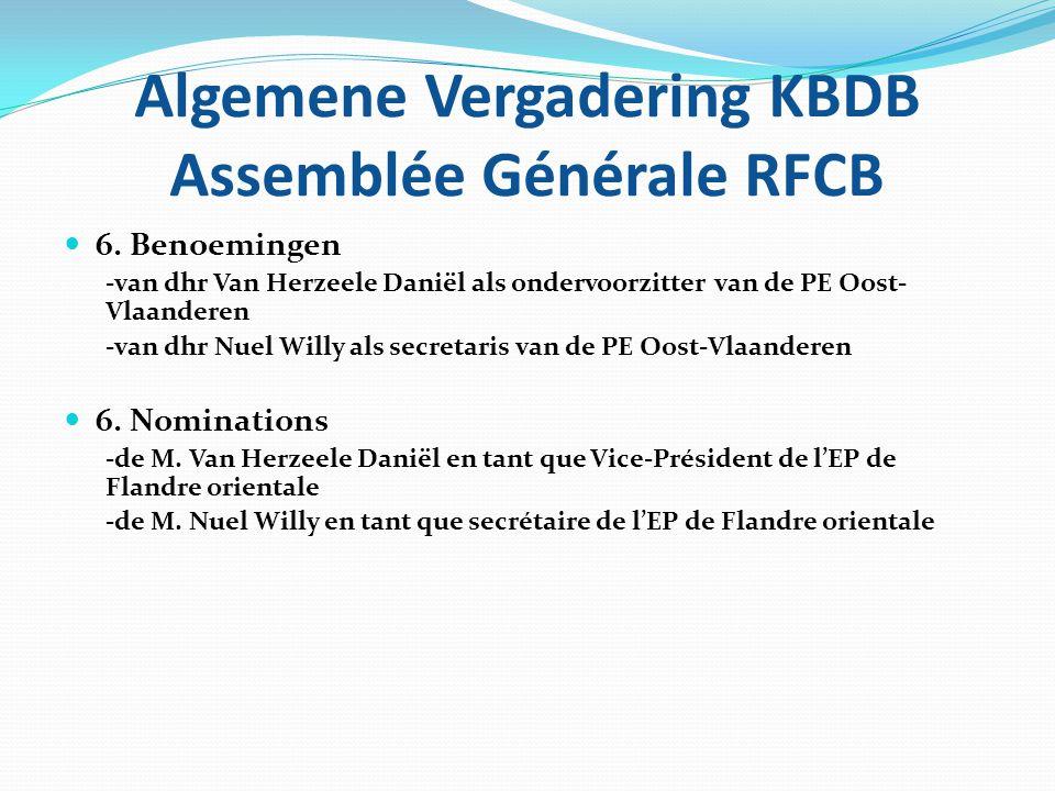 Algemene Vergadering KBDB Assemblée Générale RFCB 7. INFORMATICA 7. INFORMATIQUE