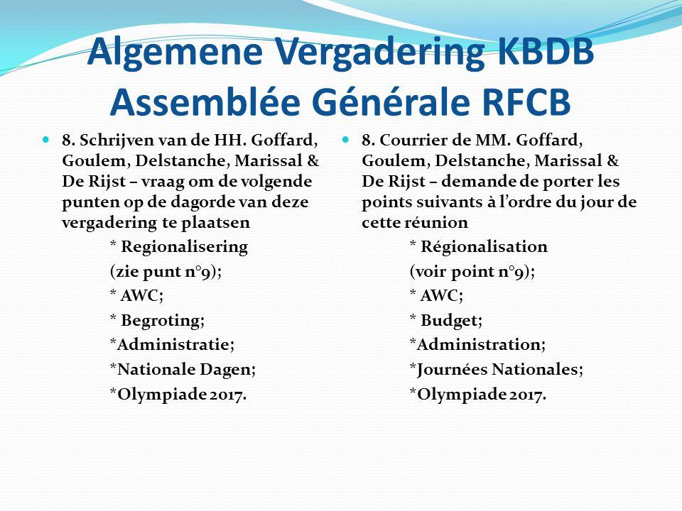 Algemene Vergadering KBDB Assemblée Générale RFCB 9. REGIONALISERING 9. REGIONALISATION