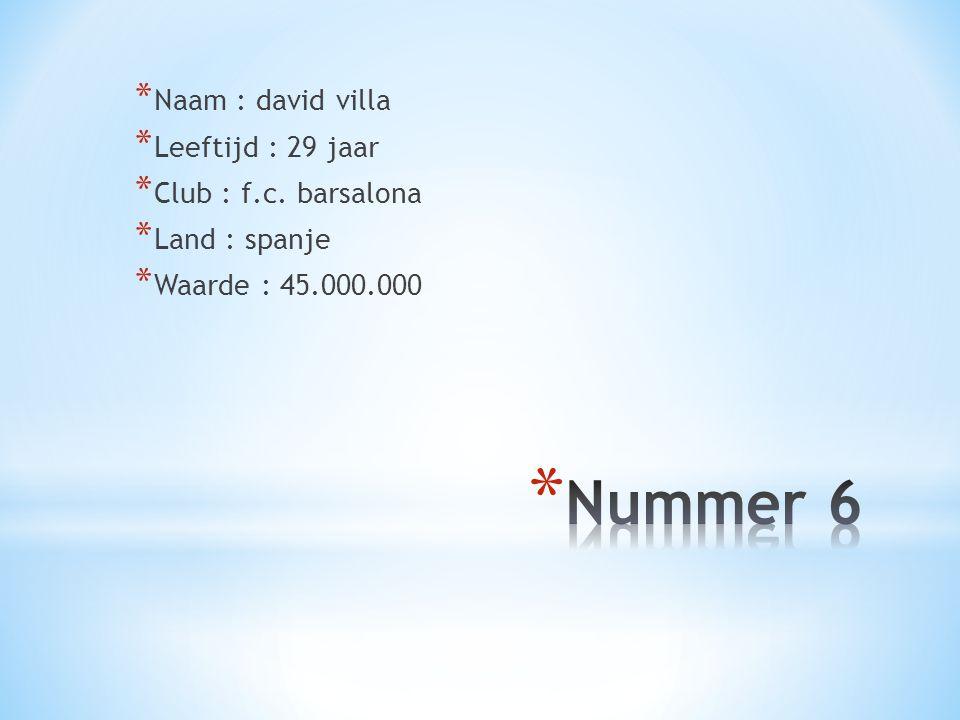 * Naam : david villa * Leeftijd : 29 jaar * Club : f.c. barsalona * Land : spanje * Waarde : 45.000.000