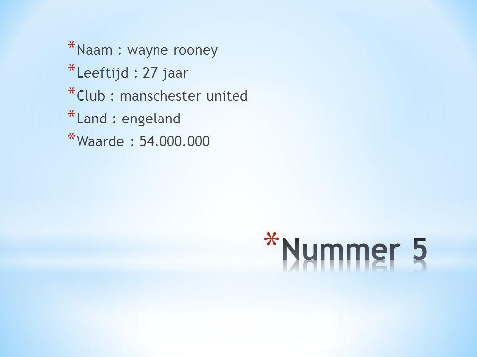 * Naam : wayne rooney * Leeftijd : 27 jaar * Club : manschester united * Land : engeland * Waarde : 54.000.000