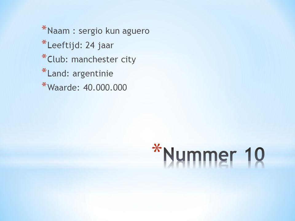 * Naam : sergio kun aguero * Leeftijd: 24 jaar * Club: manchester city * Land: argentinie * Waarde: 40.000.000