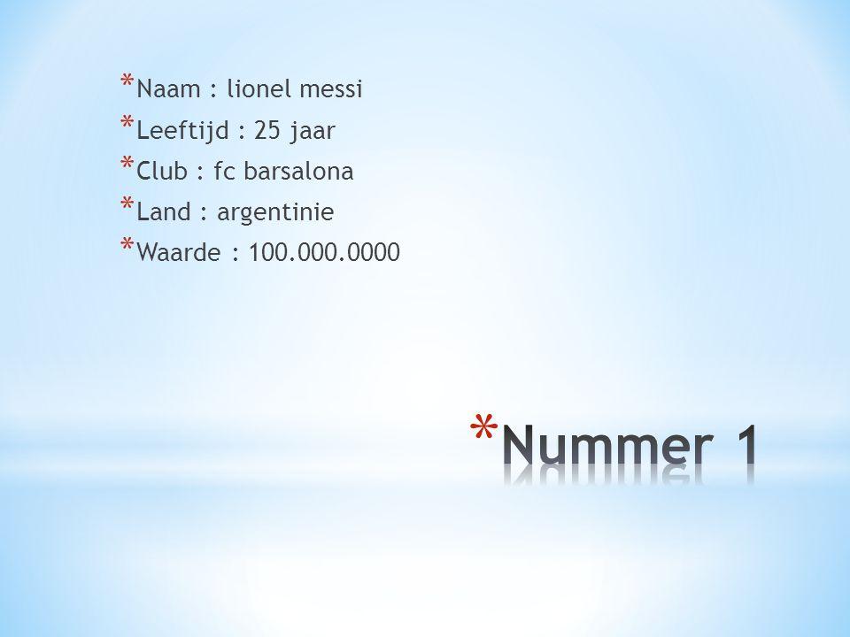 * Naam : lionel messi * Leeftijd : 25 jaar * Club : fc barsalona * Land : argentinie * Waarde : 100.000.0000
