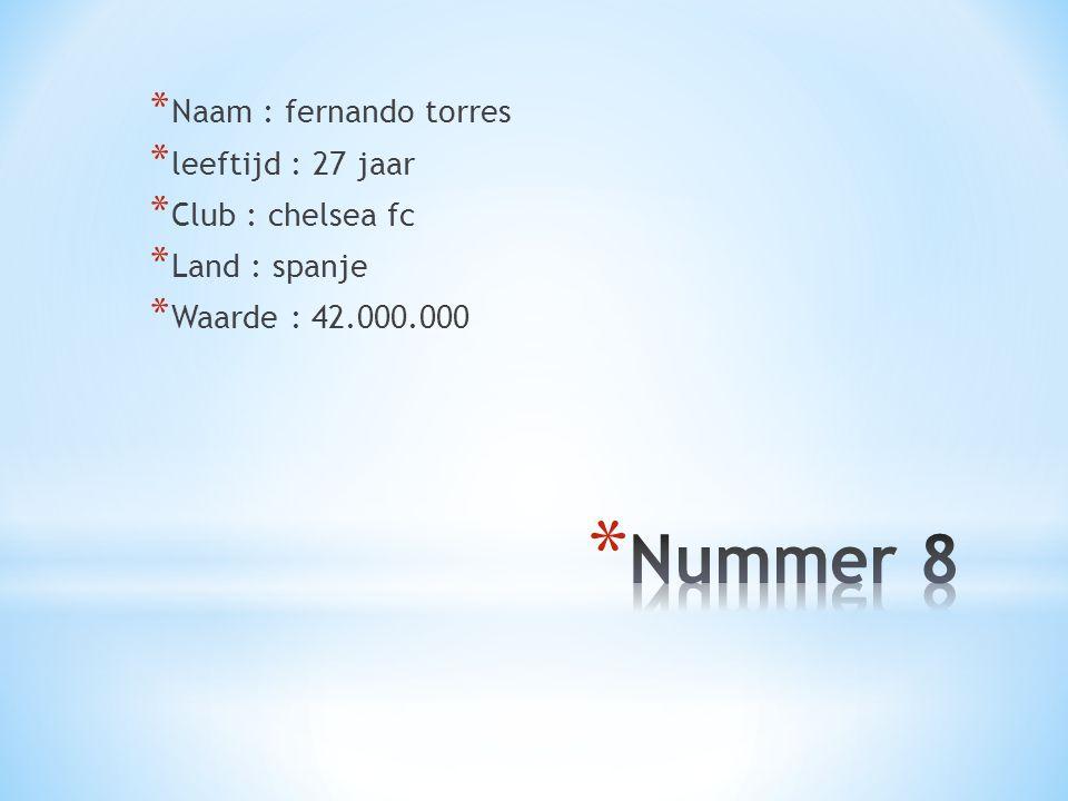 * Naam : fernando torres * leeftijd : 27 jaar * Club : chelsea fc * Land : spanje * Waarde : 42.000.000