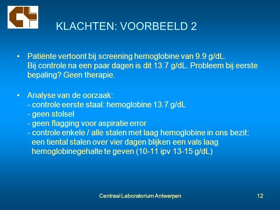 Centraal Laboratorium Antwerpen12 KLACHTEN: VOORBEELD 2 Patiënte vertoont bij screening hemoglobine van 9.9 g/dL. Bij controle na een paar dagen is di