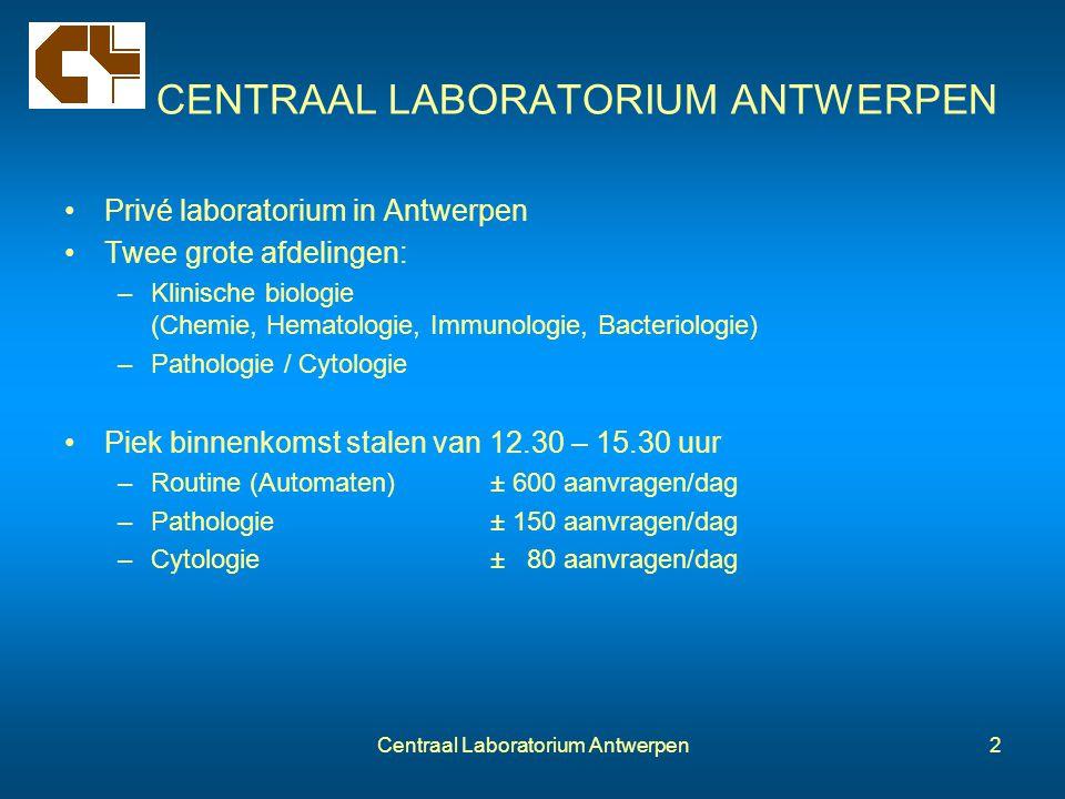 Centraal Laboratorium Antwerpen2 CENTRAAL LABORATORIUM ANTWERPEN Privé laboratorium in Antwerpen Twee grote afdelingen: –Klinische biologie (Chemie, H