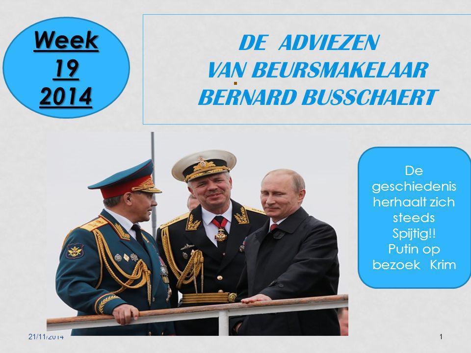 21/11/20141 DE ADVIEZEN VAN BEURSMAKELAAR BERNARD BUSSCHAERT Week 19 2014 De geschiedenis herhaalt zich steeds Spijtig!! Putin op bezoek Krim