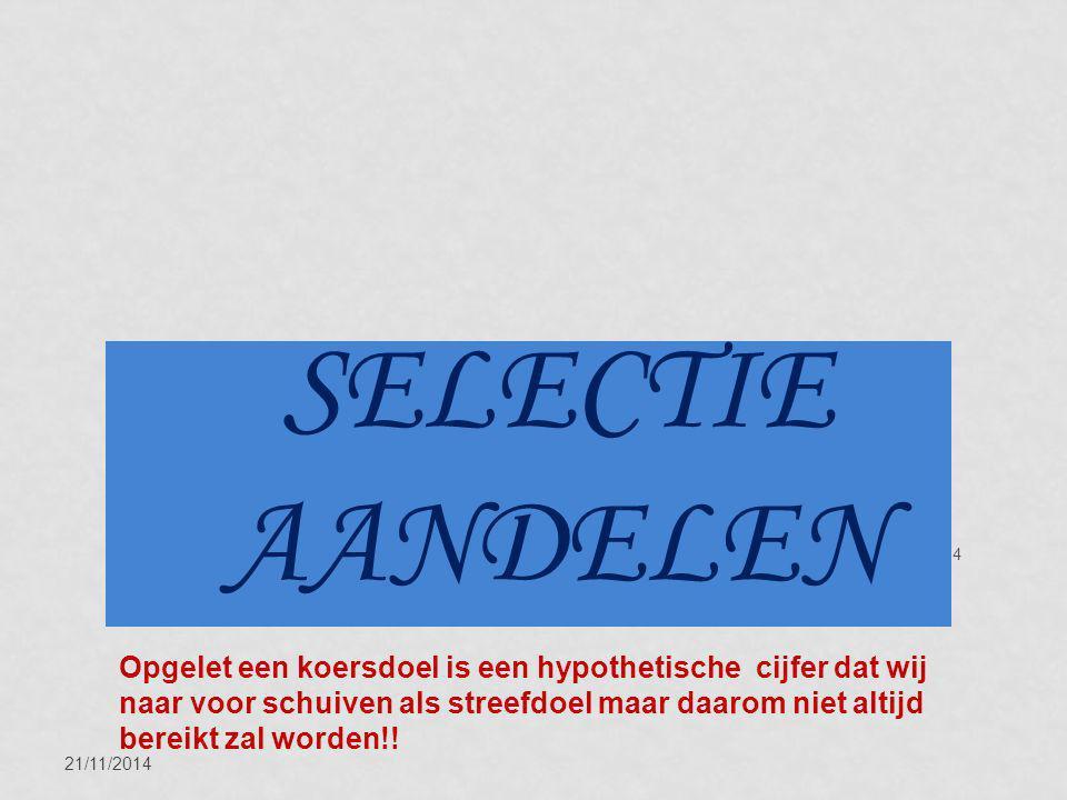 21/11/2014 14 SELECTIE AANDELEN Opgelet een koersdoel is een hypothetische cijfer dat wij naar voor schuiven als streefdoel maar daarom niet altijd be
