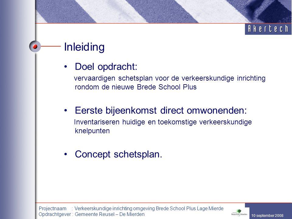 10 september 2008 Projectnaam : Verkeerskundige inrichting omgeving Brede School Plus Lage Mierde Opdrachtgever : Gemeente Reusel – De Mierden Inleidi