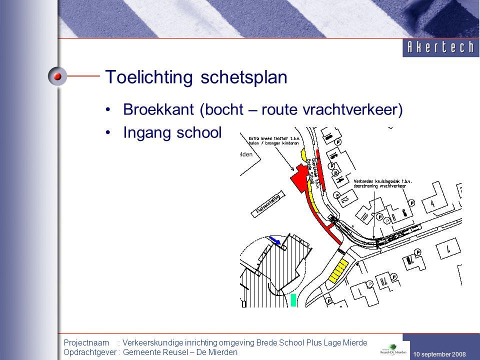10 september 2008 Projectnaam : Verkeerskundige inrichting omgeving Brede School Plus Lage Mierde Opdrachtgever : Gemeente Reusel – De Mierden Toelich