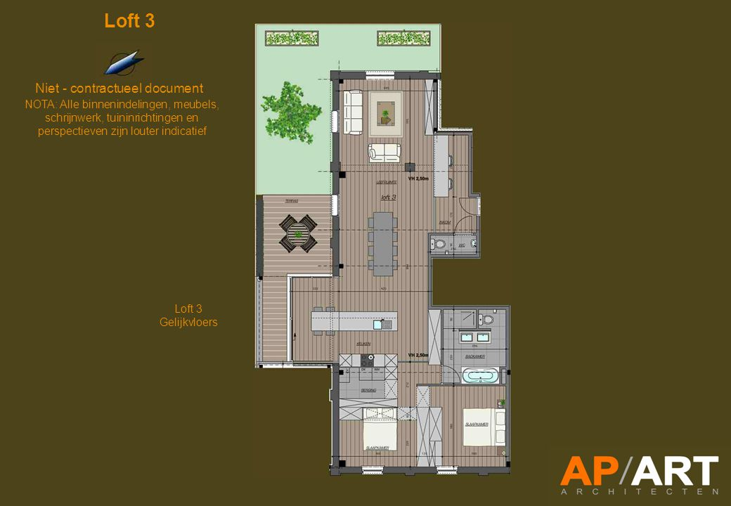 Loft 3 Gelijkvloers Niet - contractueel document NOTA: Alle binnenindelingen, meubels, schrijnwerk, tuininrichtingen en perspectieven zijn louter indicatief Loft 3
