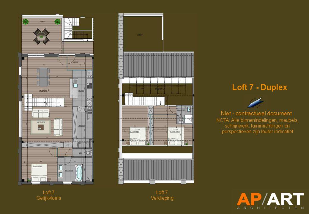 Loft 7 Gelijkvloers Niet - contractueel document NOTA: Alle binnenindelingen, meubels, schrijnwerk, tuininrichtingen en perspectieven zijn louter indicatief Loft 7 - Duplex Loft 7 Verdieping