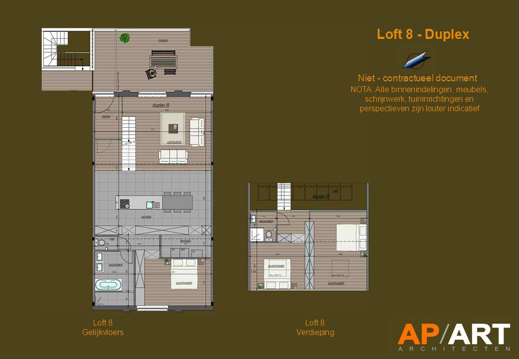 Loft 8 Gelijkvloers Loft 8 Verdieping Niet - contractueel document NOTA: Alle binnenindelingen, meubels, schrijnwerk, tuininrichtingen en perspectieven zijn louter indicatief Loft 8 - Duplex