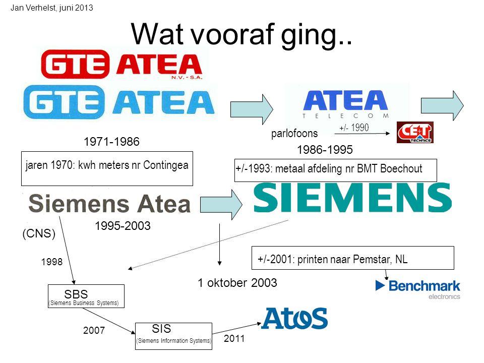 Jan Verhelst, juni 2013 Fixed & Mobile Mobile Phones 1/4/2007 NSN Herentals 1/10/2007 1/10/2008 Enter Prise 2005 2006 R.I.P SHC ( Home communication ) Arques Siemens Enterprise Communications 51% 49% Gigaset Commu- nications GmbH 19,8% 80,2% (2008) Vroeger R&D Herentals Vroeger OTN België Aartselaar.