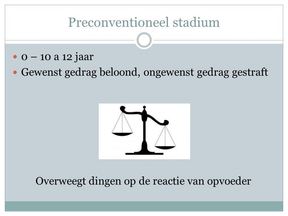 Conventioneel stadium 10 – 18 jaar Goedkeuring van de omgeving Ontwikkeling van het geweten