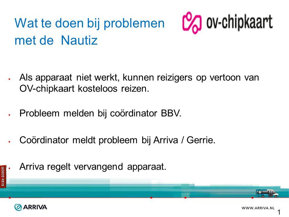 Wat te doen bij problemen met de Nautiz  Als apparaat niet werkt, kunnen reizigers op vertoon van OV-chipkaart kosteloos reizen.  Probleem melden bi