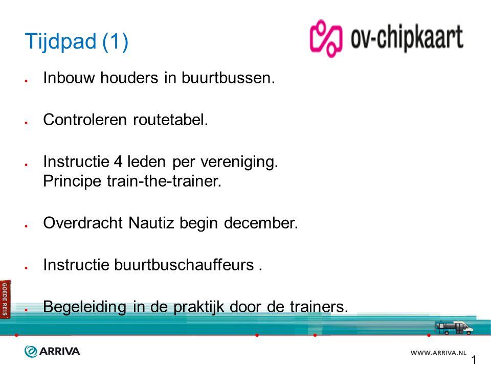 Tijdpad (1)  Inbouw houders in buurtbussen.  Controleren routetabel.  Instructie 4 leden per vereniging. Principe train-the-trainer.  Overdracht N