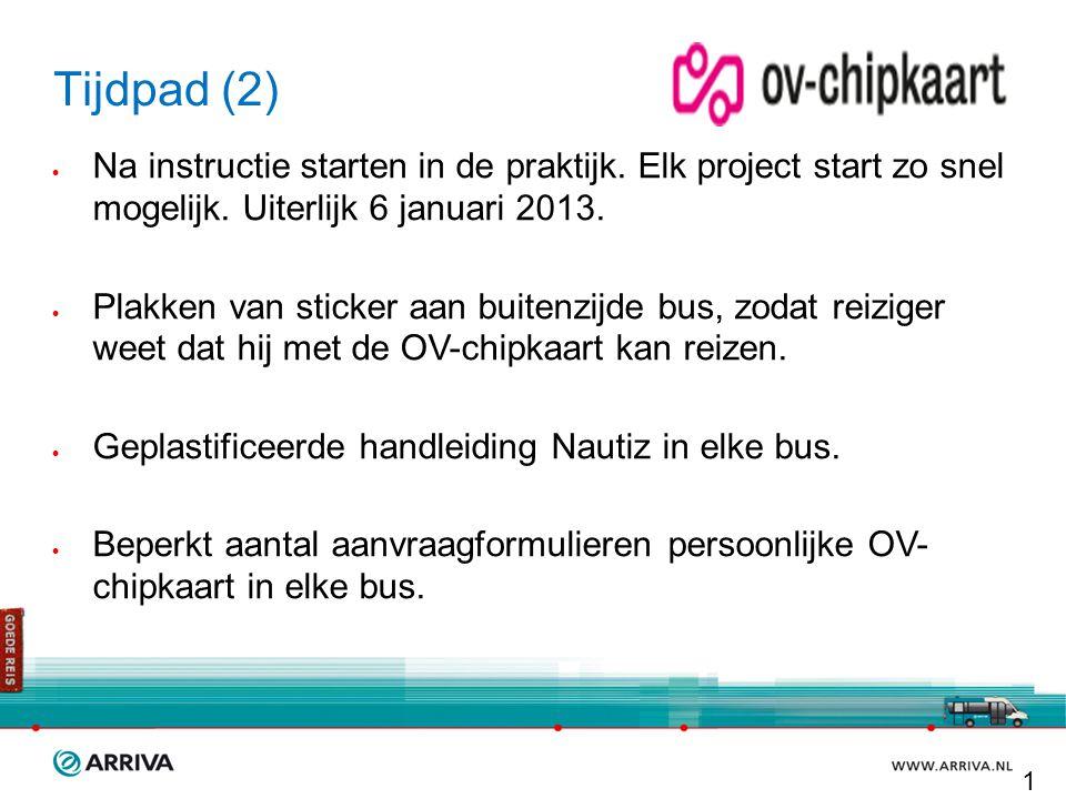 Tijdpad (2)  Na instructie starten in de praktijk. Elk project start zo snel mogelijk. Uiterlijk 6 januari 2013.  Plakken van sticker aan buitenzijd
