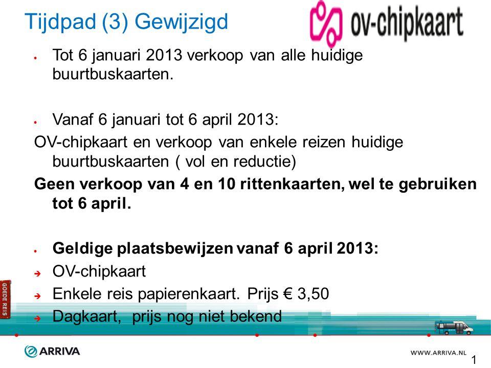 Tijdpad (3) Gewijzigd  Tot 6 januari 2013 verkoop van alle huidige buurtbuskaarten.  Vanaf 6 januari tot 6 april 2013: OV-chipkaart en verkoop van e