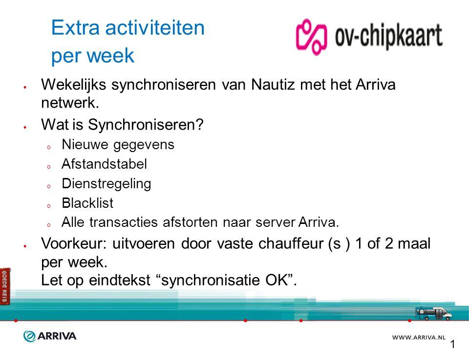 Extra activiteiten per week  Wekelijks synchroniseren van Nautiz met het Arriva netwerk.  Wat is Synchroniseren?  Nieuwe gegevens  Afstandstabel 