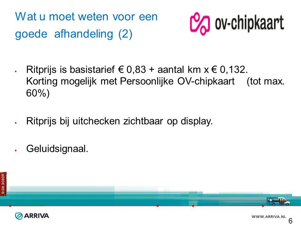 Wat u moet weten voor een goede afhandeling (2)  Ritprijs is basistarief € 0,83 + aantal km x € 0,132. Korting mogelijk met Persoonlijke OV-chipkaart